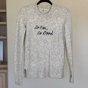 So far so good. MADEWELL Embroidered sweater.